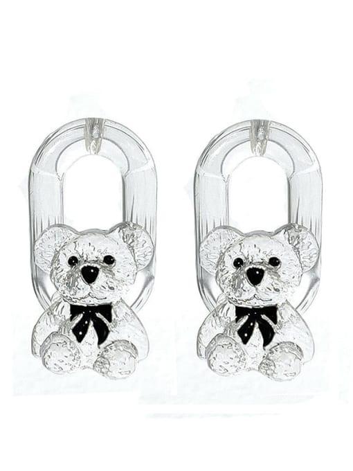 white Brass Resin Bear Hip Hop Stud Earring