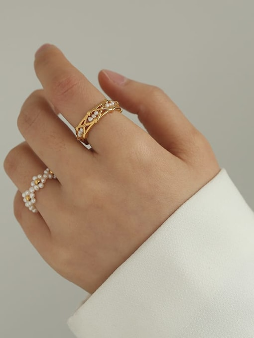 Five Color Brass Freshwater Pearl Geometric Hip Hop Band Ring 2