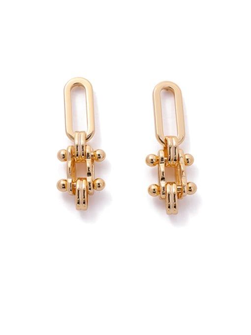 golden Brass Geometric Minimalist Drop Earring
