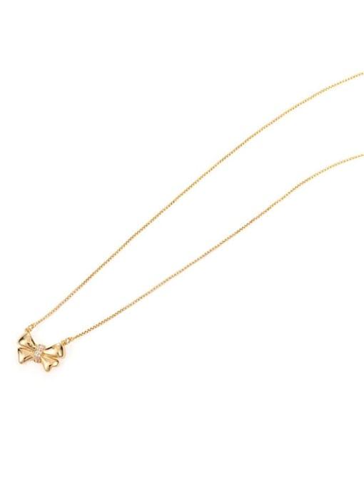 Five Color Brass Bowknot Minimalist  Pendant Necklace 3