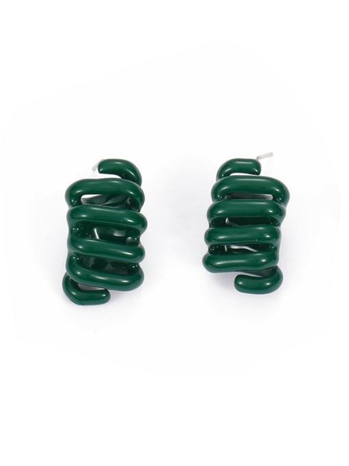 Dark green (left and right) Brass Enamel Irregular Minimalist Stud Earring