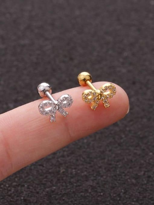 HISON Brass Cubic Zirconia Bowknot Cute Stud Earring(Single) 1