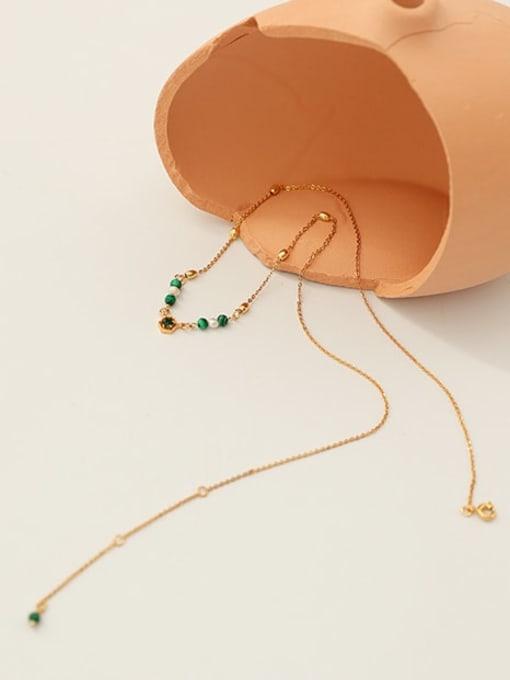 Five Color Brass Imitation Pearl Geometric Vintage Lariat Necklace 0