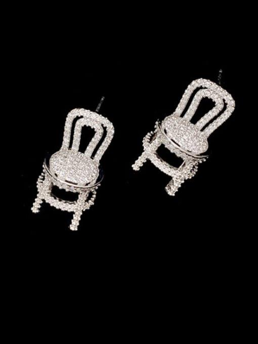 SUUTO Brass Cubic Zirconia Irregular Dainty Stud Earring