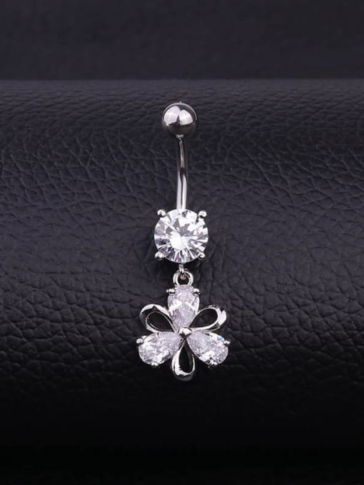 white Stainless steel Cubic Zirconia Flower Hip Hop Belly studs & Belly Bars