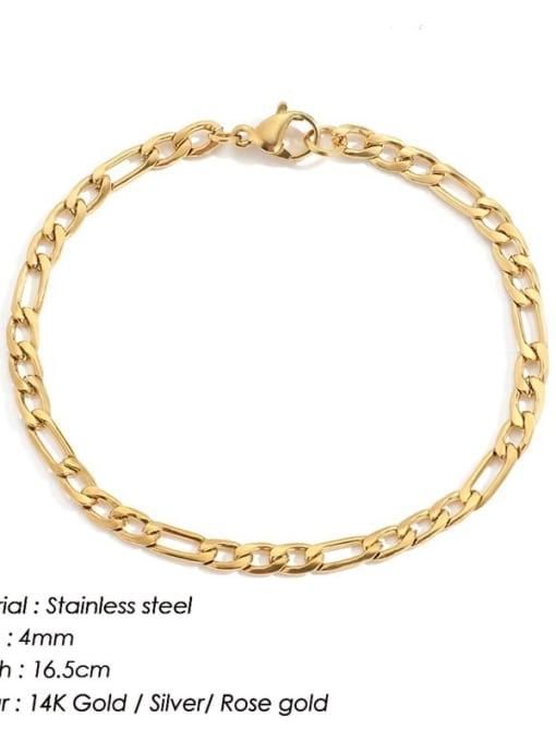 Gold 4mm 16.5cm Stainless steel Geometric Minimalist Link Bracelet