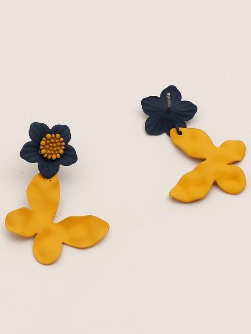HYACINTH Brass Enamel Flower Vintage Drop Earring 2