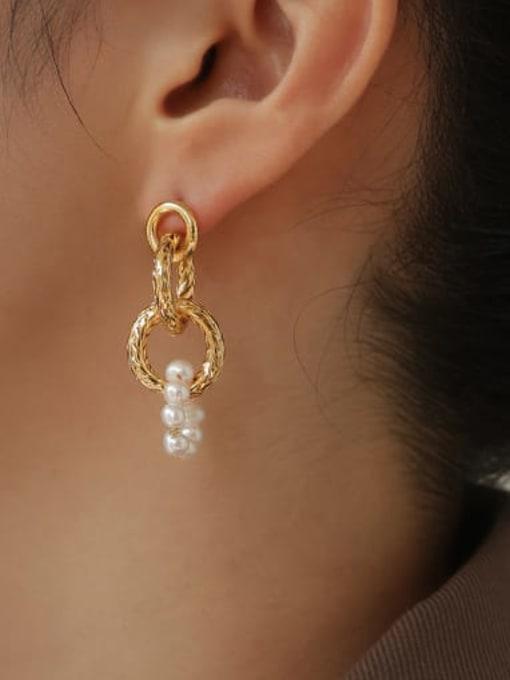 ACCA Brass Imitation Pearl Geometric Hip Hop Drop Earring 1