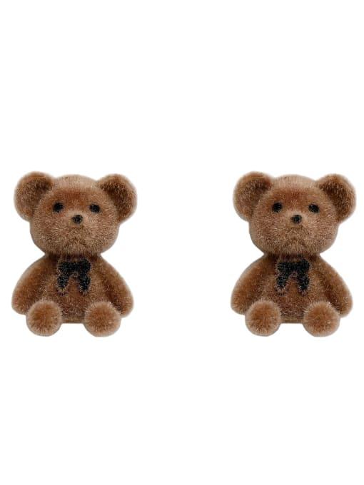 HYACINTH Alloy Flocking Bear Cute Stud Earring 3