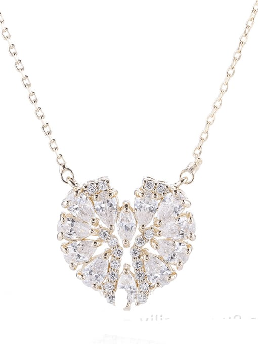 Champagne gold Brass Cubic Zirconia Heart Statement Necklace