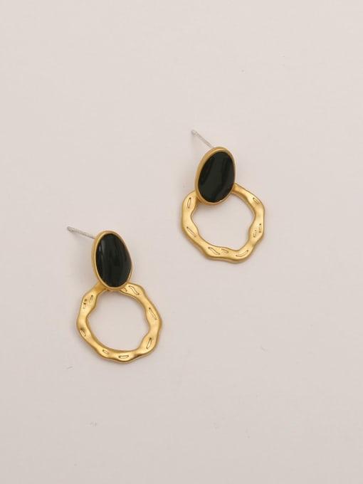 Dumb gold and dark green Brass Enamel Geometric Vintage Stud Earring