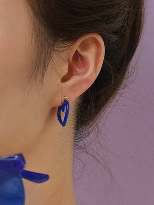 Five Color Brass Enamel Heart Minimalist Huggie Earring 1