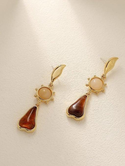 18 k gold Brass Carnelian Water Drop Vintage Drop Earring