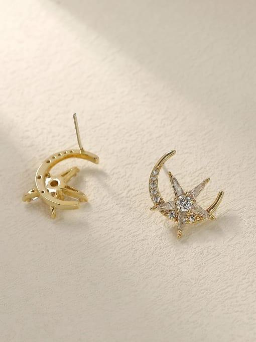 HYACINTH Brass Cubic Zirconia Moon Vintage Stud Trend Korean Fashion Earring 3