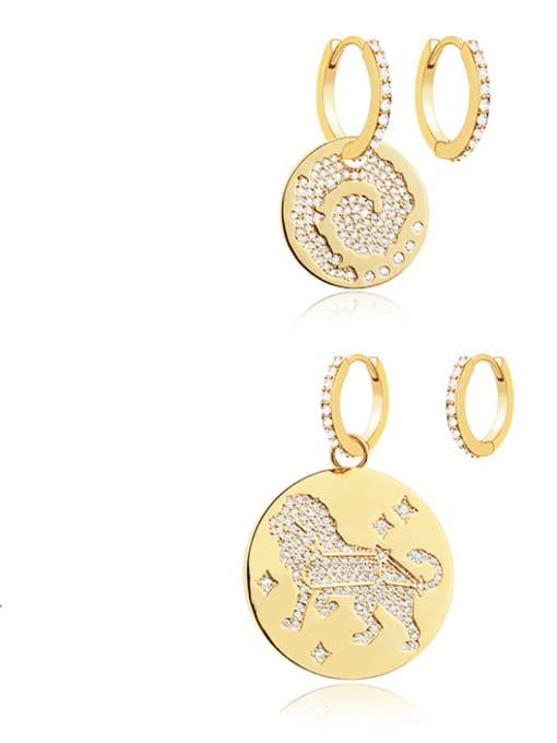 OUOU Brass Cubic Zirconia Geometric Minimalist Huggie Earring 1