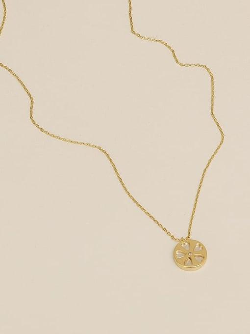 14K  gold Brass Shell Flower Minimalist pendant Necklace