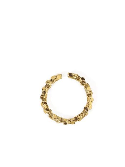 Irregular mouth ring Brass Geometric Vintage Band Ring