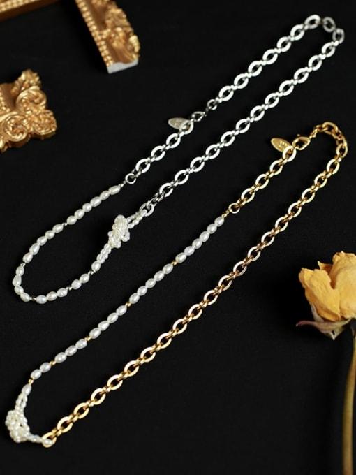 Five Color Brass Imitation Pearl Irregular Vintage Necklace