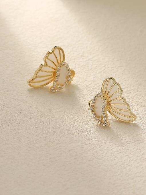 14k Gold Brass Shell Butterfly Cute Stud Trend Korean Fashion Earring