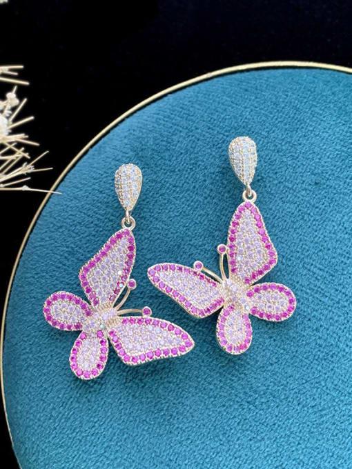 SUUTO Brass Cubic Zirconia Butterfly Trend Drop Earring 1