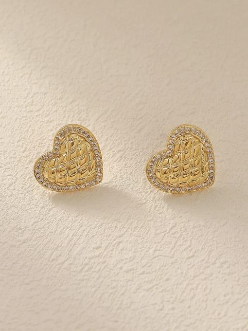 HYACINTH Brass Cubic Zirconia Heart Minimalist Stud Trend Korean Fashion Earring 2