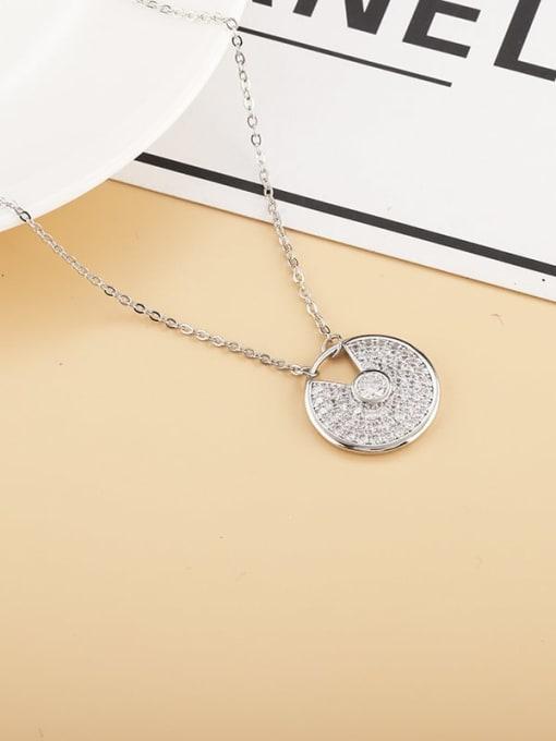 platinum Brass Cubic Zirconia Geometric Minimalist Necklace