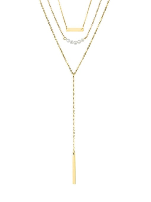 golden Stainless steel Tassel Minimalist Multi Strand Necklace