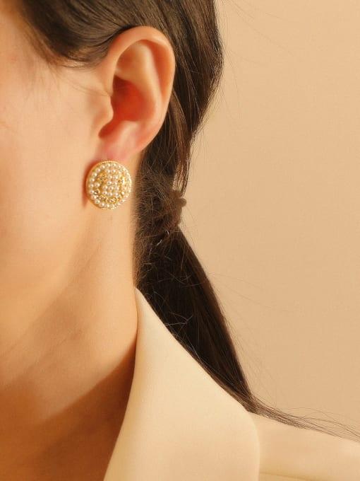 HYACINTH Brass Imitation Pearl Geometric Bohemia Stud Earring 3