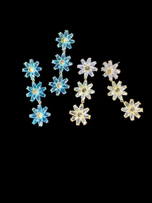 SUUTO Brass Cubic Zirconia Flower Trend Drop Earring 0
