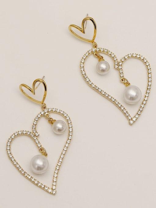 14k Gold Brass Cubic Zirconia Heart Vintage Stud Earring