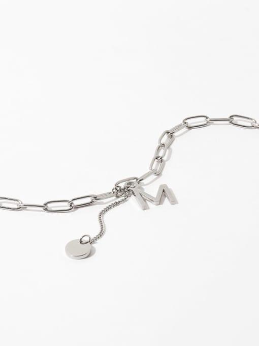Letter necklace Titanium Steel Letter Vintage Lariat Necklace