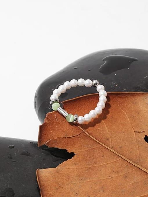 TINGS Brass Imitation Pearl Geometric Minimalist Bead Ring 2