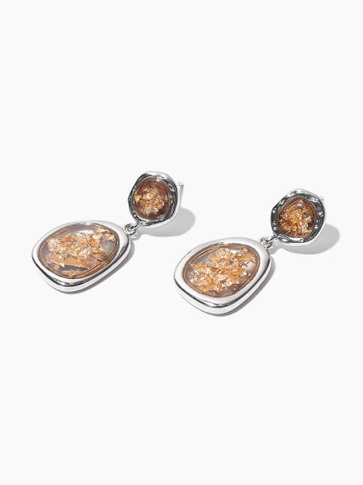 Gold foil Earrings Brass Geometric Hip Hop Drop Earring