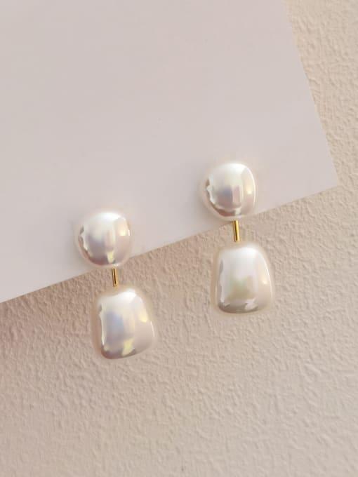 HYACINTH Brass Imitation Pearl Geometric Minimalist Drop Earring