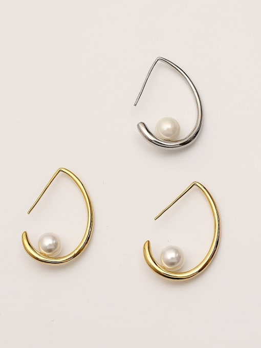 HYACINTH Brass Imitation Pearl Water Drop Minimalist Stud Earring 2