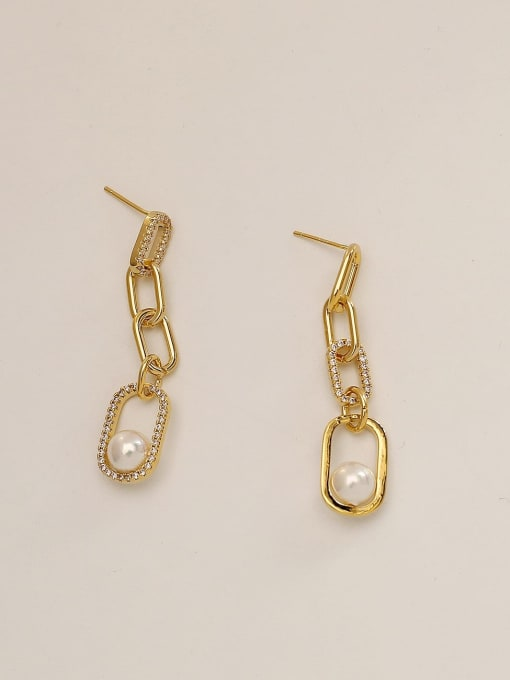 HYACINTH Brass Imitation Pearl Geometric Vintage Drop Earring 4