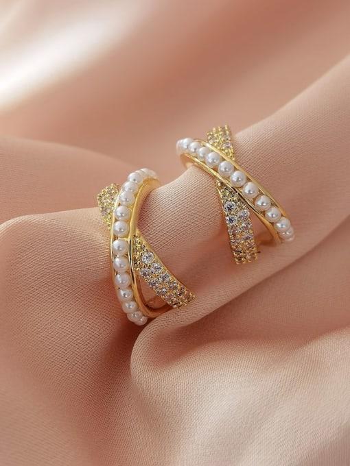 14k gold Brass Imitation Pearl Cross Minimalist Stud Earring