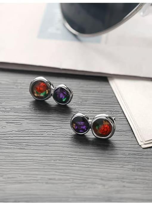 TINGS Brass Rhinestone Geometric Minimalist Stud Earring