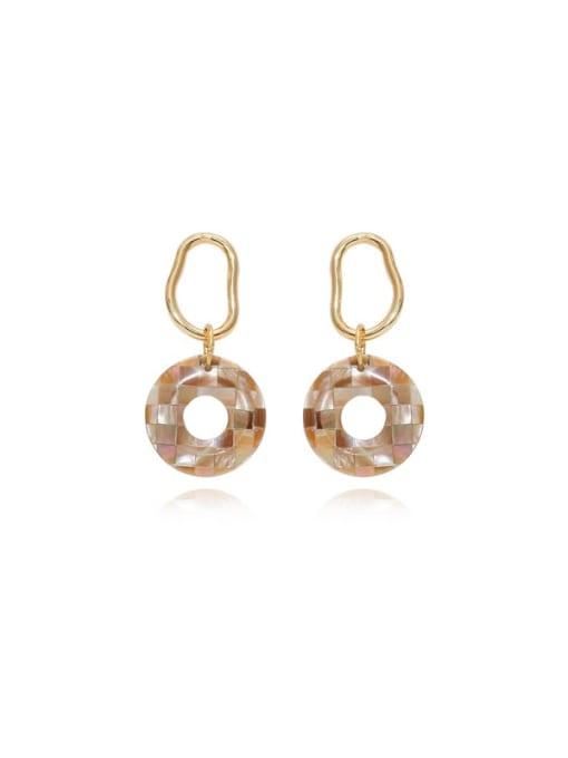 HYACINTH Brass Acrylic Round Vintage Stud Earring 4