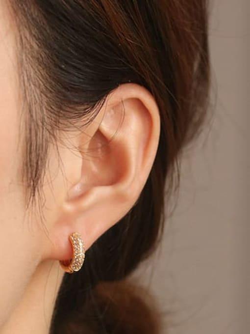 ACCA Brass Cubic Zirconia Geometric Dainty Huggie Earring 1