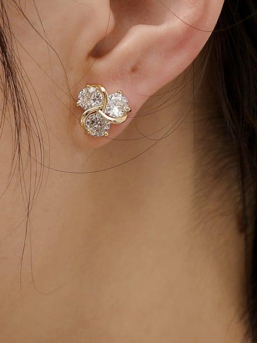 HYACINTH Brass Cubic Zirconia Flower Cute Stud Earring 2