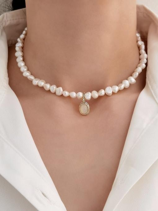 HYACINTH Brass Imitation Pearl Geometric Vintage Necklace 1