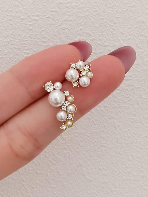 HYACINTH Brass Imitation Pearl Asymmetry Irregular Minimalist Stud Earring 0