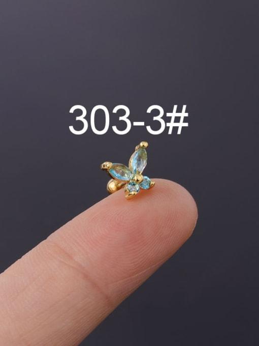 3(Single) Brass Cubic Zirconia Butterfly Cute Stud Earring