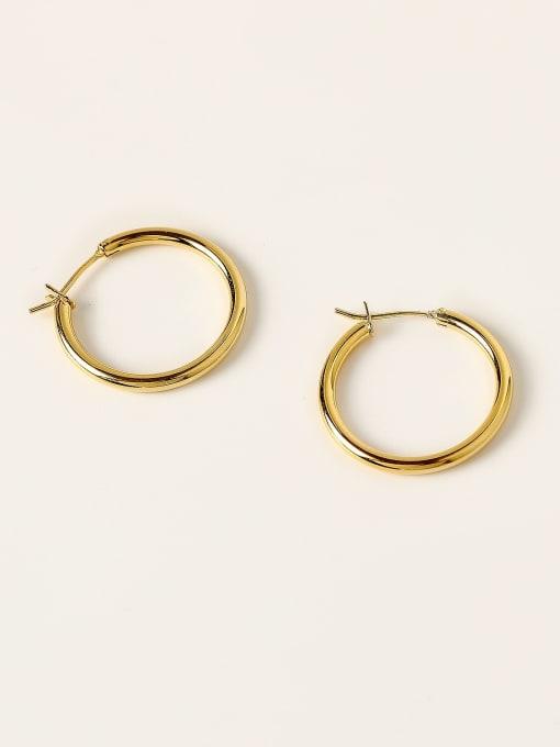 HYACINTH Brass Round Minimalist Hoop Earring 3