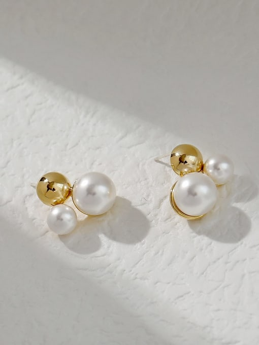 HYACINTH Brass Imitation Pearl Irregular Vintage Stud Trend Korean Fashion Earring 0