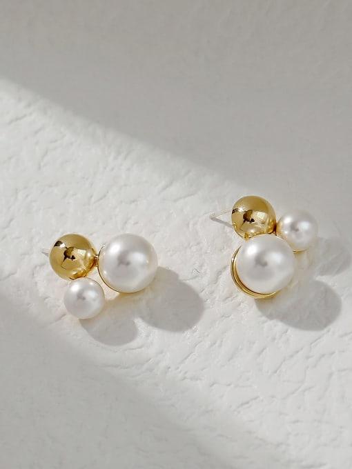 HYACINTH Brass Imitation Pearl Irregular Vintage Stud Trend Korean Fashion Earring