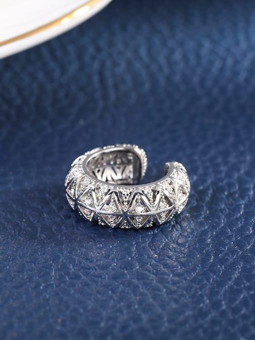 OUOU Brass Cubic Zirconia Geometric Vintage Clip Earring 2