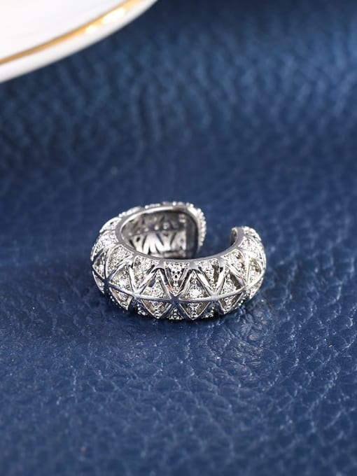 platinum Brass Cubic Zirconia Geometric Vintage Clip Earring