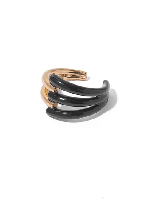 Black (No. 7 ring and No. 8 ring can ) Zinc Alloy Enamel Geometric Minimalist Band Ring